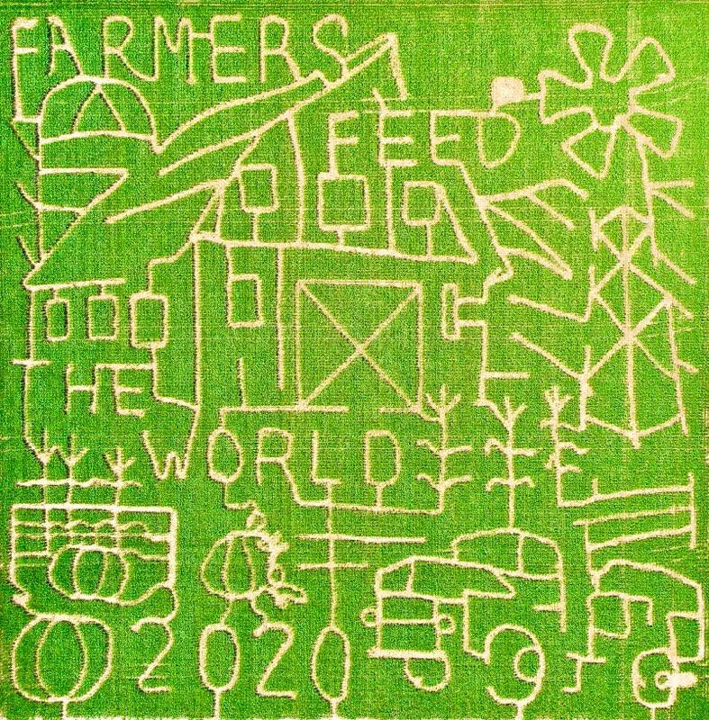 Corn maze design cut out with a large barn, windmill, old fashioned truck, pumpkins and the words Farmers Feed the World