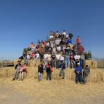 The bale pyramid is the perfect spot for a fun class picture.