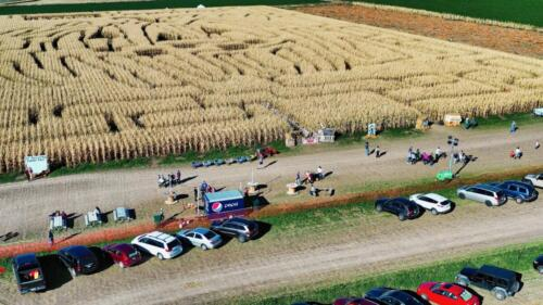 Aerial view of Corn Maze 2018