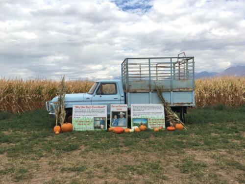 Glen Ray Larsen's baby blue cattle truck.
