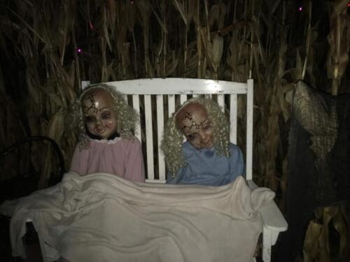 "Our ""friendly"" dolls taking a nap in the Field of Fright!"
