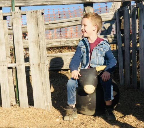 Riding a bull in the Lil' Buckaroo Rodeo area!