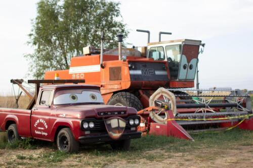 Mater the tow truck and Frank the combine.